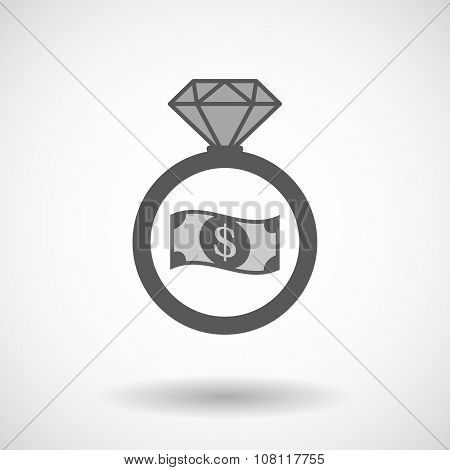 Isolated Vector Ring Icon With A Dollar Bank Note