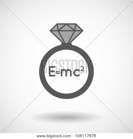 Isolated Vector Ring Icon With The Theory Of Relativity Formula