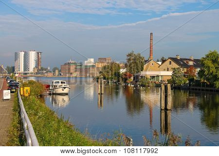 View Of Halfweg From Zwanenburg Through The Canal Ringvaart, The Netherlands