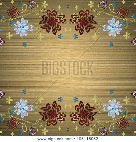 Gold Background With Patterned Flowers. Element For Design. Template For Design. Copy Space For Ad B