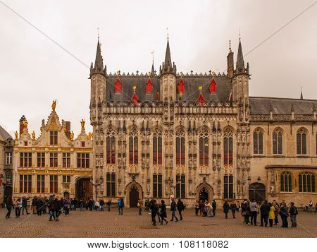 Burg square with City Hall in belgian Bruges