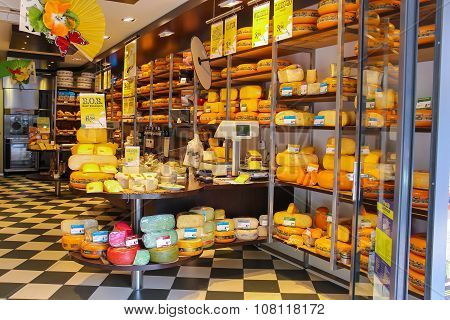 Shelves With Products In Cheese Store In Zandvoort, The Netherlands