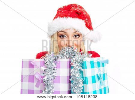 Christmas Woman Behind Shopping Bags. Isolated On White, Close Up