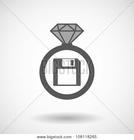 Vector Ring Icon With A Floppy Disk