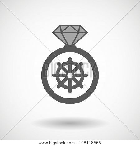 Vector Ring Icon With A Dharma Chakra Sign