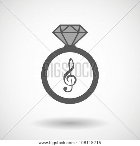Vector Ring Icon With A G Clef