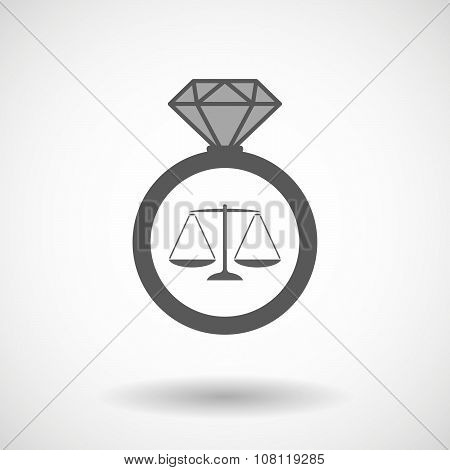 Vector Ring Icon With A Justice Weight Scale Sign