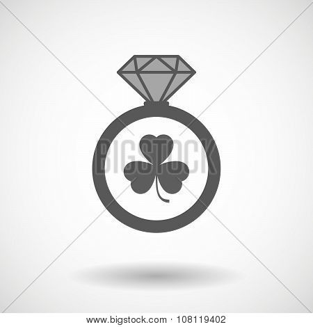 Isolated Vector Ring Icon With A Clover