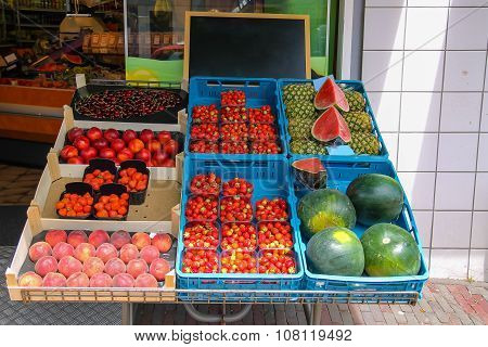 Shelf With Fresh Fruits In Greengrocery Store In Zandvoort, The Netherlands