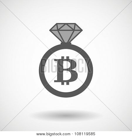 Isolated Vector Ring Icon With A Bit Coin Sign