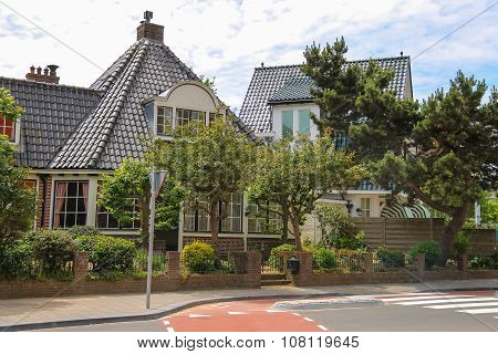 Modern Beautiful Houses On Haarlemmerstraat Street In Zandvoort, The Netherlands
