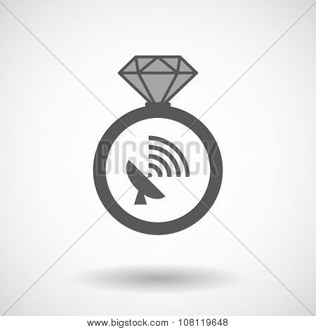 Isolated Vector Ring Icon With A Satellite Dish
