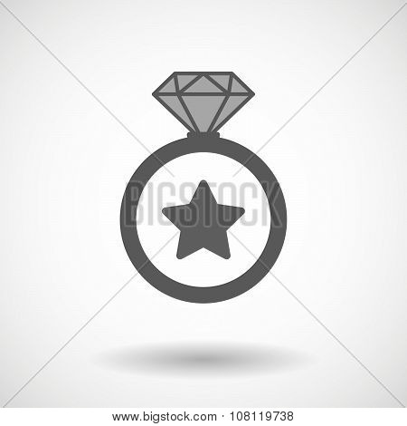 Isolated Vector Ring Icon With A Key