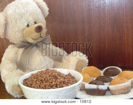Teddy Bear At Breakfast Table