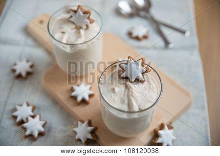 Christmas Dessert with cinnamon stars