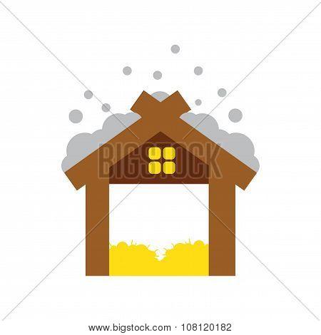flat icon with long shadow Christmas barn