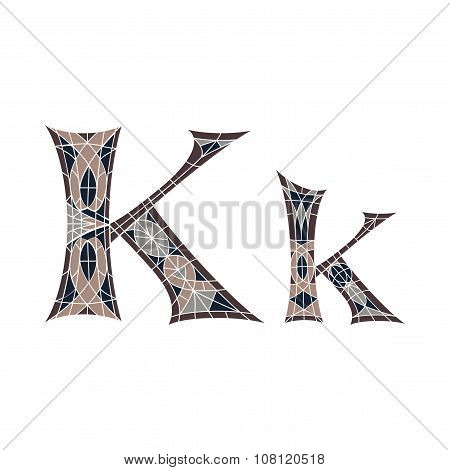 Low poly letter K in brown mosaic polygon