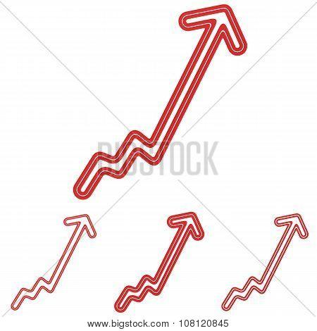 Red line progress logo design set