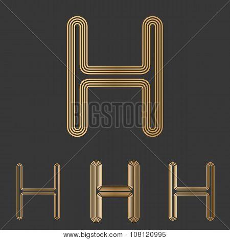 Bronze line h logo design set