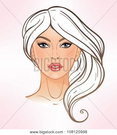 Female face chart Makeup Artist Blank.