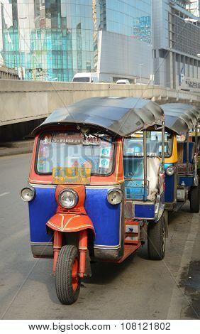 Thai Tuk Tuks Sit Parked Awaiting Tourists