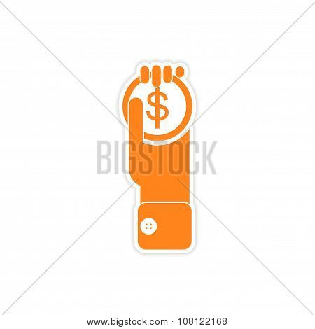 stylish sticker on paper Money in hand