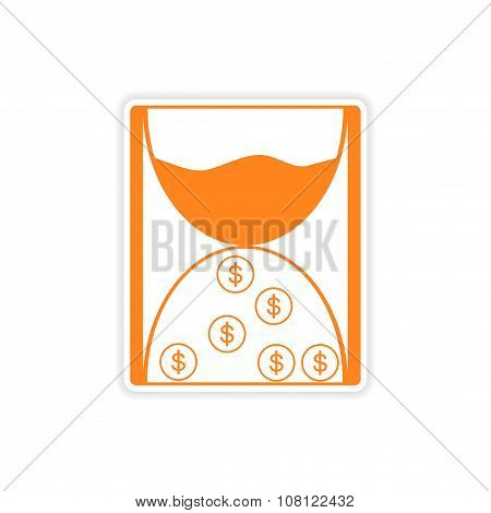 stylish sticker on paper hourglass and coins