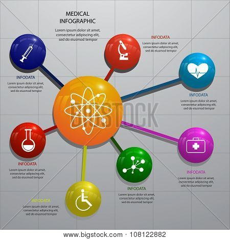 Set Of 3D Glossy Infographic Elements With Illustration Of Medical Objects For Health And Medical Co