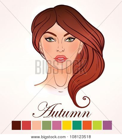 Seasonal skin color types for women Autumn.