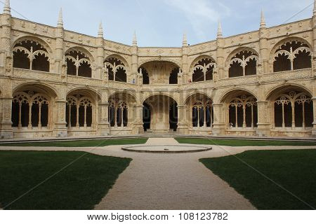 Internal Cloister Of Jeronimos Monastery In Lisbon