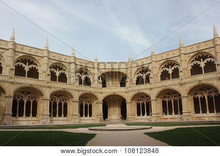 Internal Cloister Of Jeronimos Monastery In Lisbon