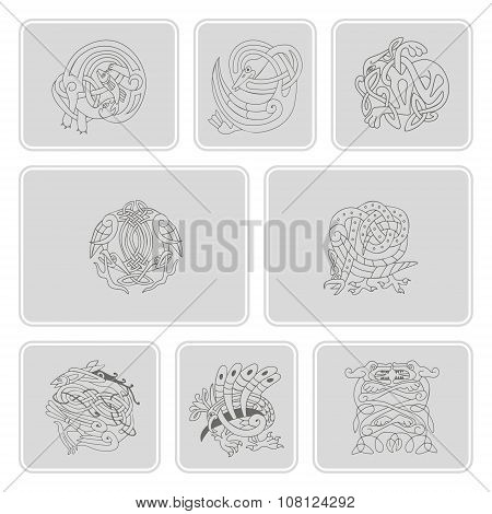 set of monochrome icons with celtic art and ethnic ornaments