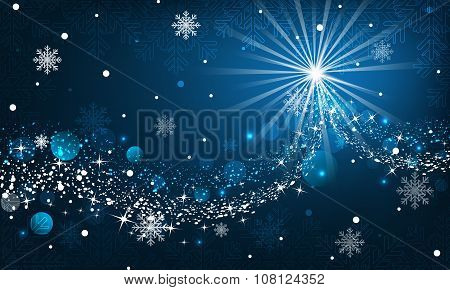 Abstract winter background. Snowfall, sparkle and snowflakes on a blue dark background.