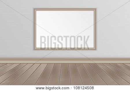 Empty interior with wooden floor and image for your slogan or text.