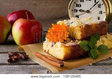 Three Portions Of Apple Cake With Spices