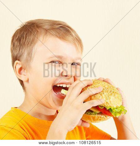 Little smiling boy eating tasty hamburger