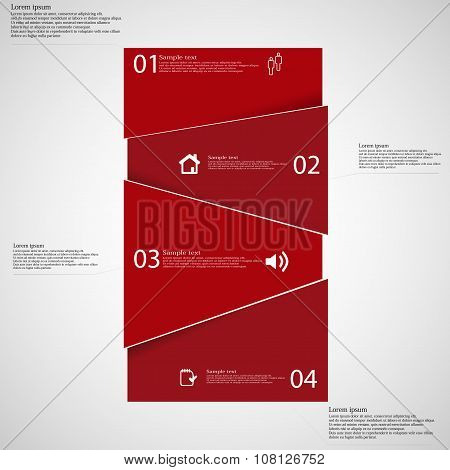 Infographic Template With Red Bar Randomly Divided To Fou Parts