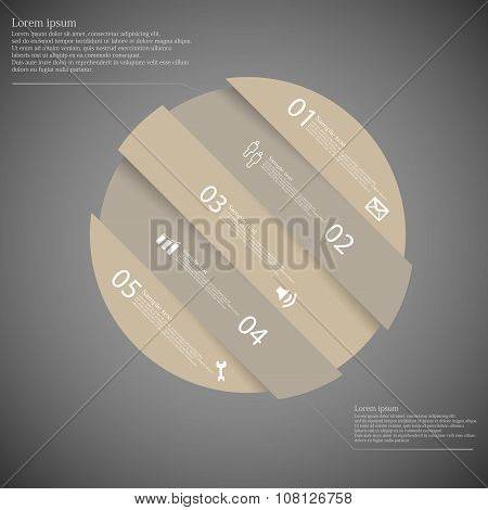 Infographic Template With Brown Circle Askew Divided To Five Parts