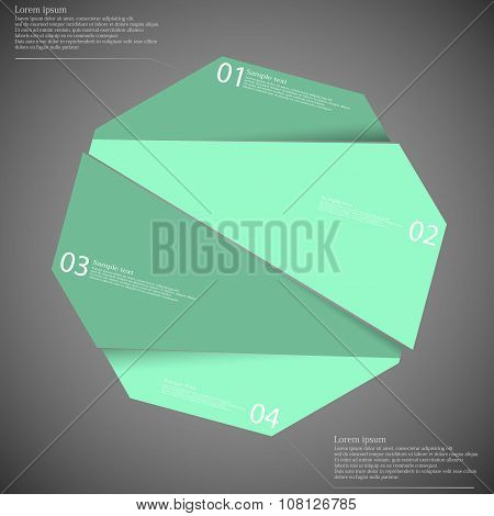 Infographic Template With Blue Octagon Randomly Divided To Four Parts