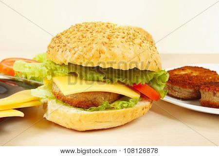 Great flavorful hamburger with cheese closeup
