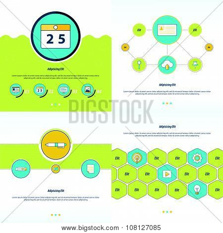 Set 4 Item Design Concept  Office Green, Blue And Yellow Color