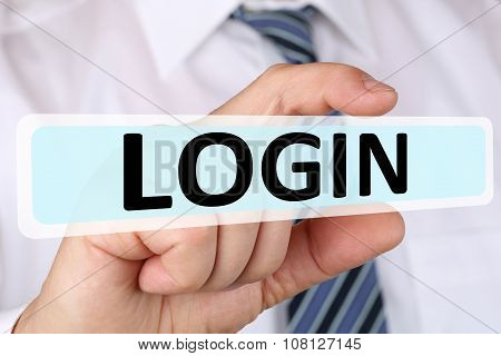 Businessman Business Concept With Login Register Password On Internet Computer