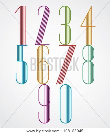 Poster Tall Colorful Numbers With Parallel Stripes On White Background.