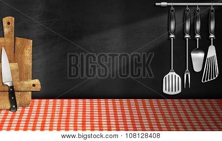 Empty Blackboard In The Kitchen