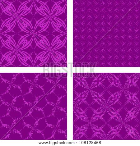 Dark magenta seamless pattern background set