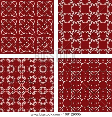 Maroon seamless pattern background set