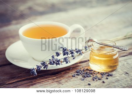 Healthy Lavender Tea Cup, Jar Of Honey And Lavender Flowers.