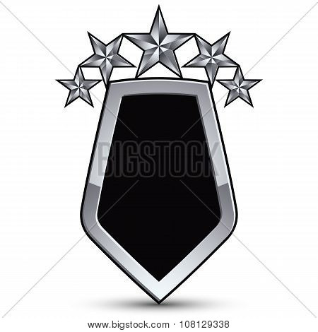 Festive Black Vector Emblem With Outline And Five Silver Decorative Pentagonal Stars, 3D Royal Conce