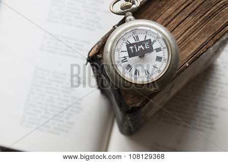 Time Text And Vintage Watch