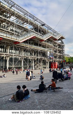 Paris, France - May 14, 2015: People Visit Centre Of Georges Pompidou